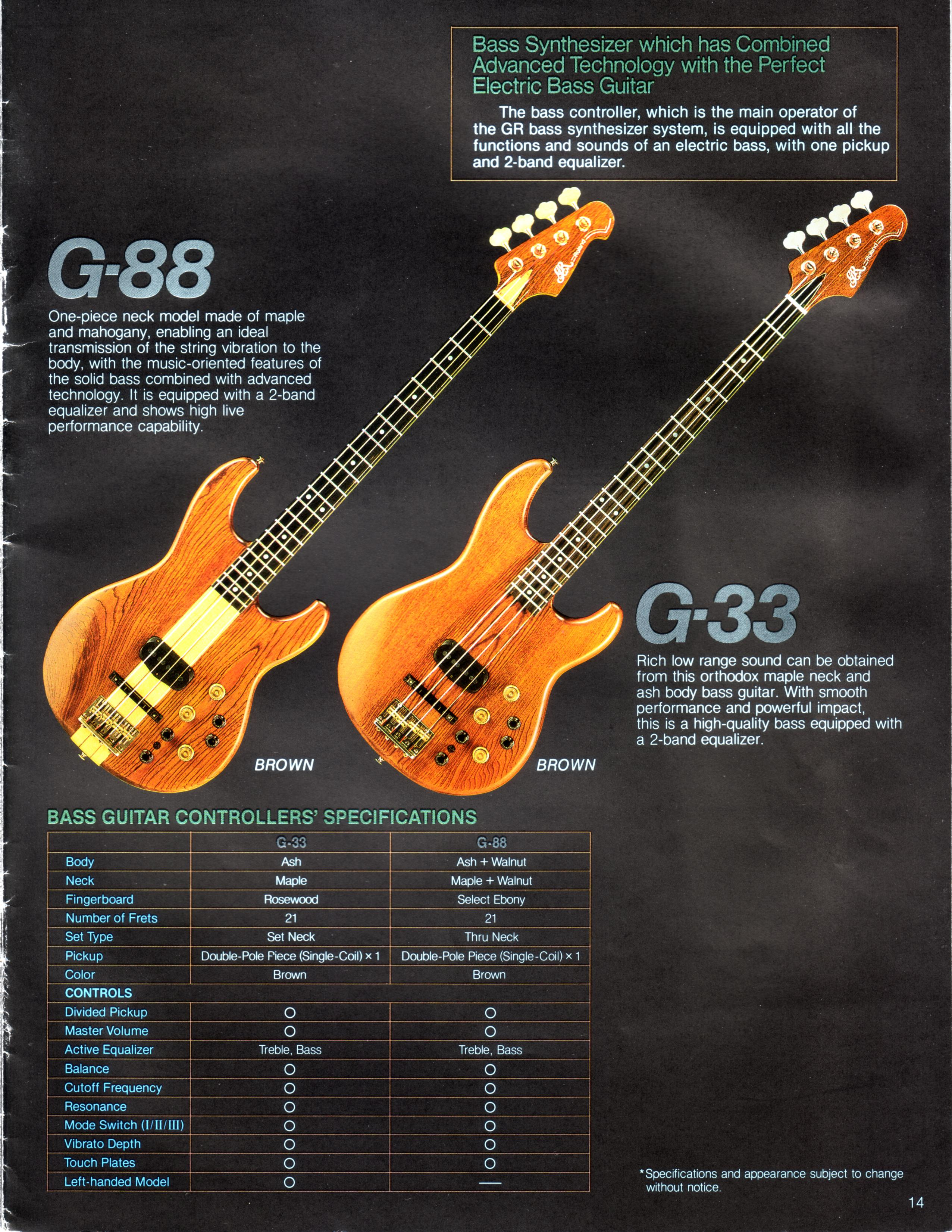 Roland 1984 Gr 700 And G 707 Brochure Complete Vintage Custom Jazz Bass Mod Master Volume Tone Balance Control Click On Any Image For Larger View