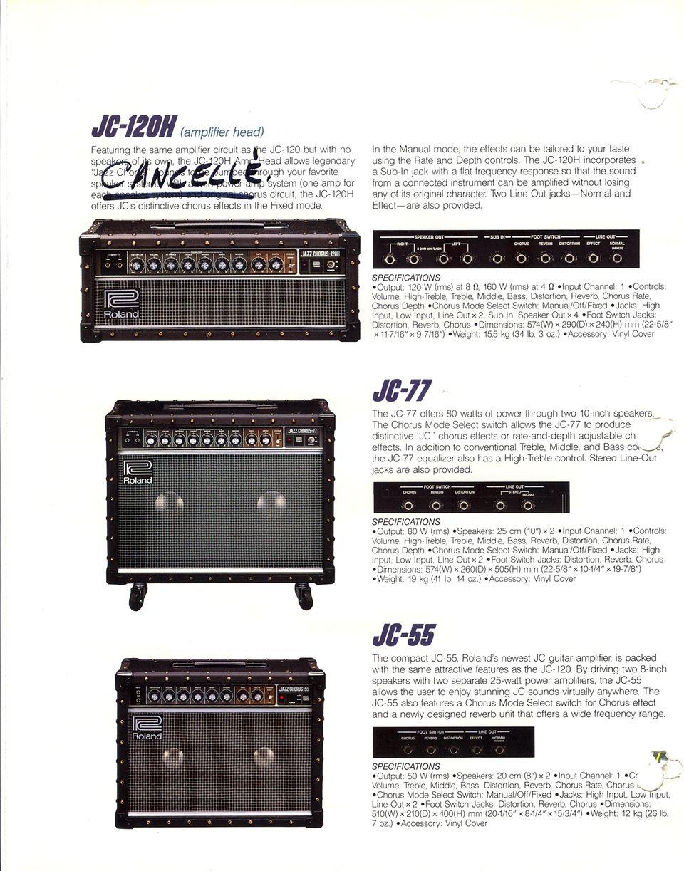 Roland 1986 Guitar Bass and Keyboard Amplifier Catalog, Volume 3