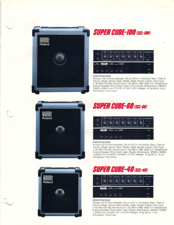 Roland 1986 Guitar Bass And Keyboard Amplifier Catalog Volume 3 2 X 40 Watt Stk Page