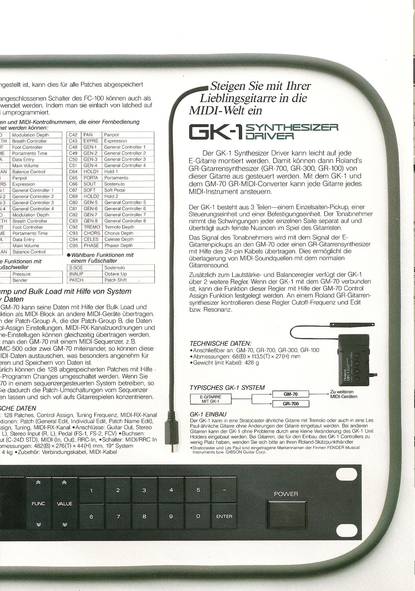 Roland GM 70 Brochure in German