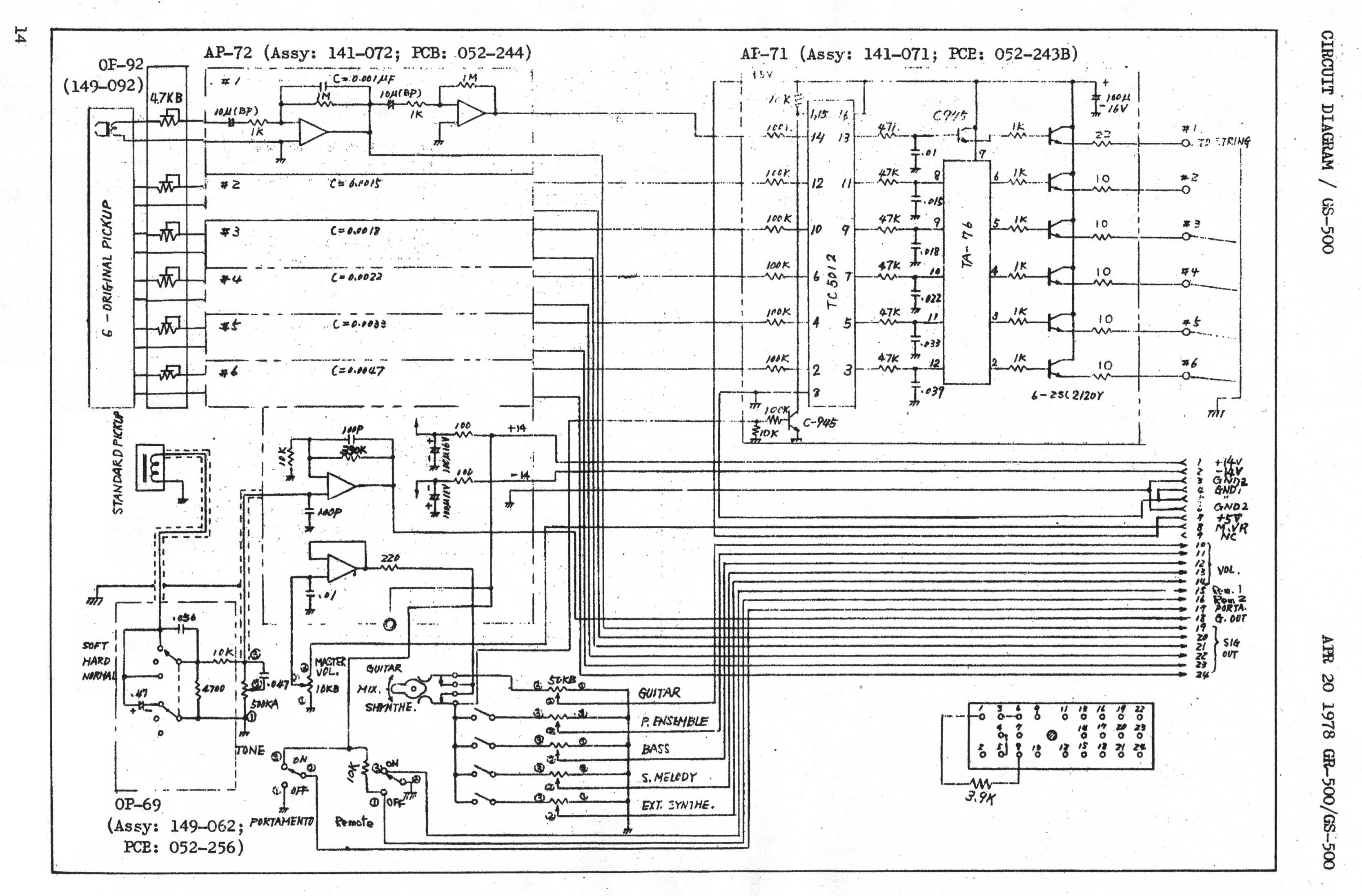 Roland Gs 500 Gr Vintage Analog 1977 Guitar Synthesizer Controller End Pin Wiring Diagram Download The Schematic